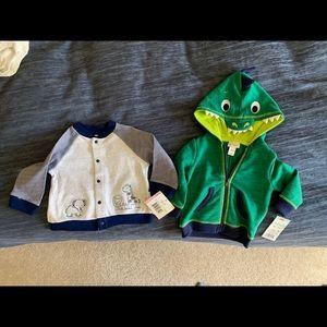 NWT 3-6M green dino/9M giraffe button up jacket